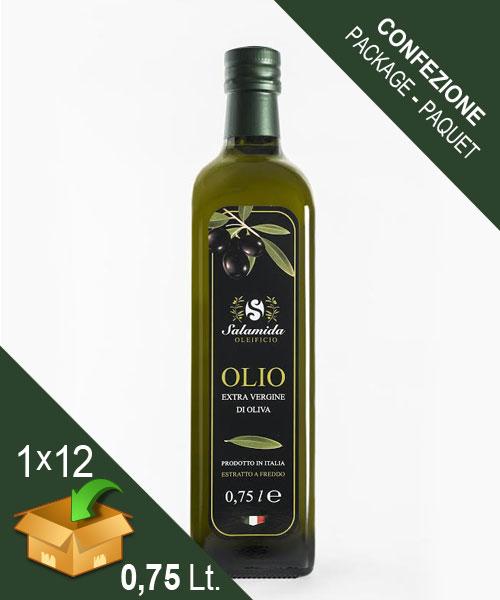Confezione Olio Extravergine Bottiglia 0,75 Litro